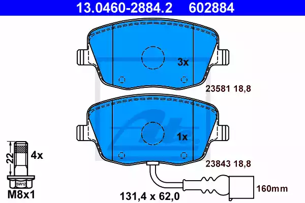 13.0460-2884.2 - Brake Pad Set, disc brake