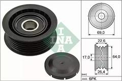 532 0160 10 - Deflection/Guide Pulley, v-ribbed belt